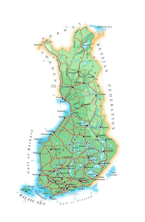 elevation map  finland  roads cities  airports