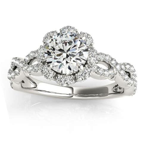 engagement rings flower design twisted halo flower engagement ring setting 14k w