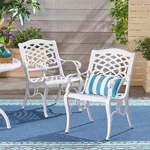 Noble, House, Phoenix, White, Armed, Aluminum, Outdoor, Dining, Chair, 2-pack, -305314