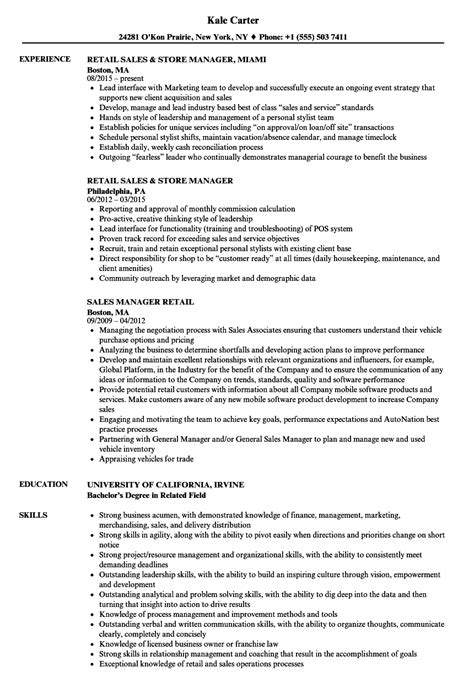 Retail Sales Manager Resume Sles by Resume Exles For Retail No Experience Of Resumes