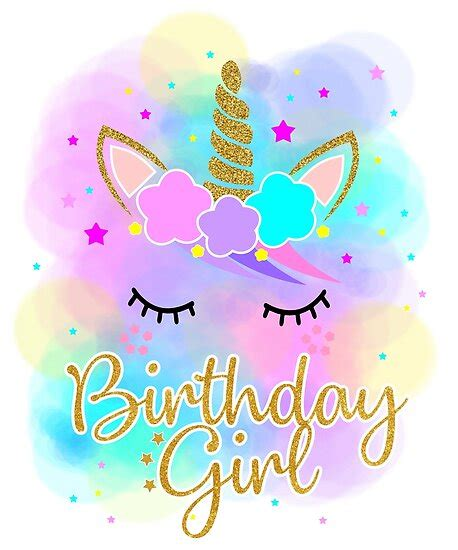 unicorns birthday girl  shirt rainbow kids posters