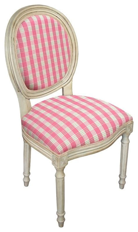 123 creations fabric upholstered furniture pink plaid side
