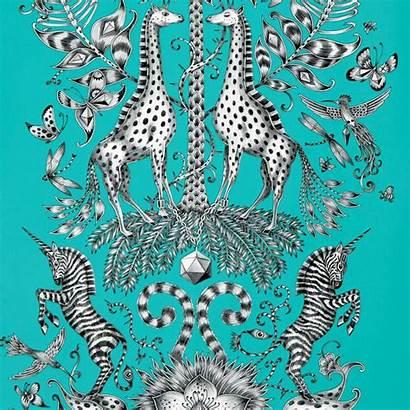 Emma Shipley Animalia Clarke Wallpapers Teal Kruger