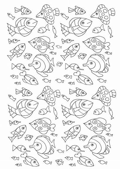 Coloring Fish Pages Pisces Adult Water Adults