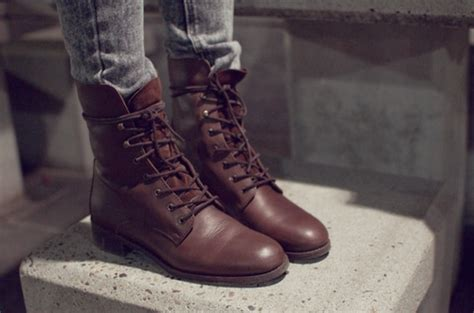 Dark Brown Combat Boots Women Fashion That Love