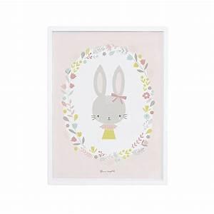 affiche decorative lapin fille pour decorer une chambre d With affiche chambre bébé avec bouquet de fleurs Á imprimer
