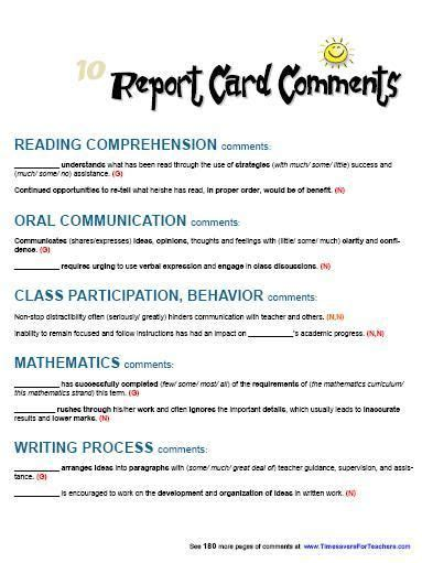 This Page Includes 10 Report Card Comments For Reading Comprehension, Oral Communication, Class