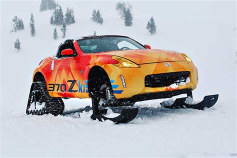 Nissan Car 370z Snow by Nissan Replaces A 370z S Wheels With Skis And Tracks