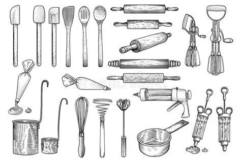 dessin d ustensiles de cuisine la cuisine outil ustensile vecteur dessin gravure