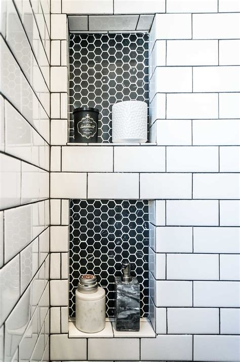 Loving This Subway Tile And Black Hex Tile Inset Hey