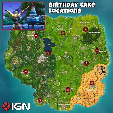 fortnite birthday cake fortnite birthday challenges in front of different