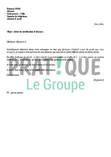 absence de bureau lettre de notification d 39 absence au bureau pratique fr