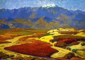 algodón campos y desierto río, óleo sobre lienzo de Franz Bischoff (1864 1929, Austria)
