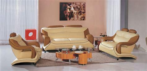 modern beige  brown leather living room set