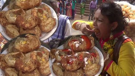 Indian People Eating Delicious Gol Gappa Pani Puripuchka