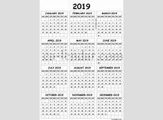 Calendar 2019 A4 Printable Calendar 2019 A4 Calendar