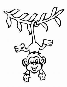 Smiling Hanging Monkey Coloring Page H & M Coloring Pages