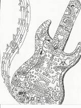 Coloring Guitar Adult Colouring Notes Uploaded sketch template