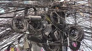 Electric Wires Are Tangled Dangerously Stock Footage Video