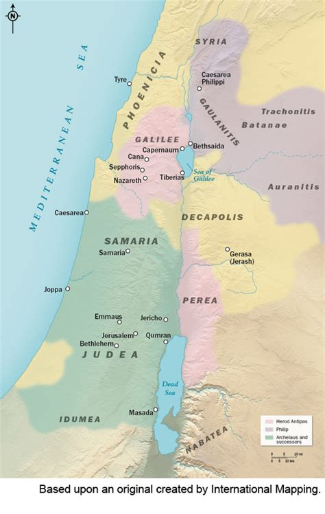 map including regions  israel  jesus time pictures