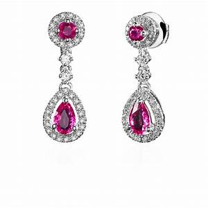 Boite A Boucle D Oreille : boucles d 39 oreilles pendantes or gris rubis diamants ~ Teatrodelosmanantiales.com Idées de Décoration
