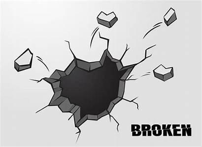 Wall Vector Cracked Holes Cement Broken Penetrating