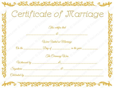 Marriage Certificate Template by Printable Marriage Certificate Template Dotxes