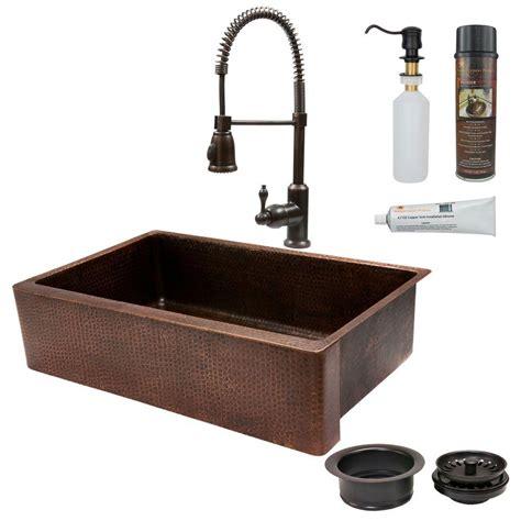 bronze undermount kitchen sink premier copper products all in one undermount copper 35 in 4931
