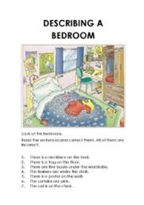 English Worksheets Describing A Bedroom