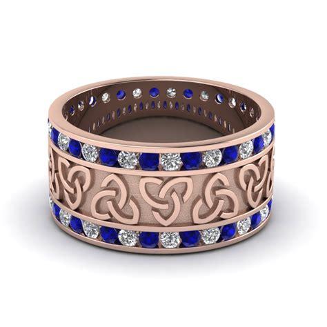 sapphire celtic knot diamond wedding band   rose gold