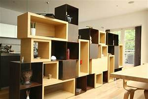 Caisson Bibliotheque Modulable : meuble s paration bois m tal by atelier luc germain ~ Edinachiropracticcenter.com Idées de Décoration