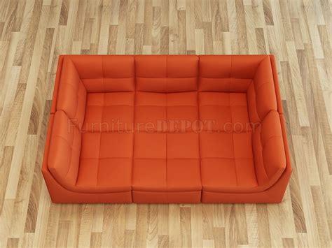 lego modular sectional sofa pc set  pumpkin leather  jm