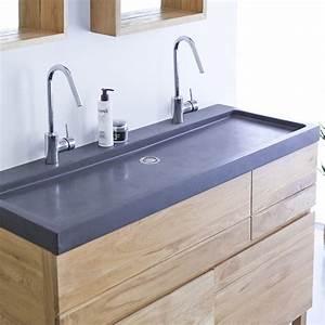 Waschtisch Mit 2 Waschbecken : waschtisch aus eiche mit lavastein waschbecken 120 easy tikamoon ~ Sanjose-hotels-ca.com Haus und Dekorationen