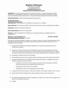 stephen kleimeyers sharepoint resume With sharepoint sample resume developers