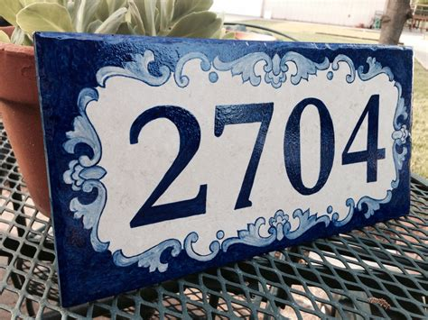 custom painted house number tile
