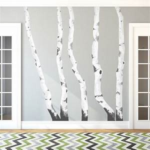 birch trees printed wall decal With white birch tree wall decal decorations