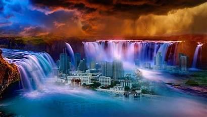 Waterfall Fantasy Water Surrealism Background Nature Laptop