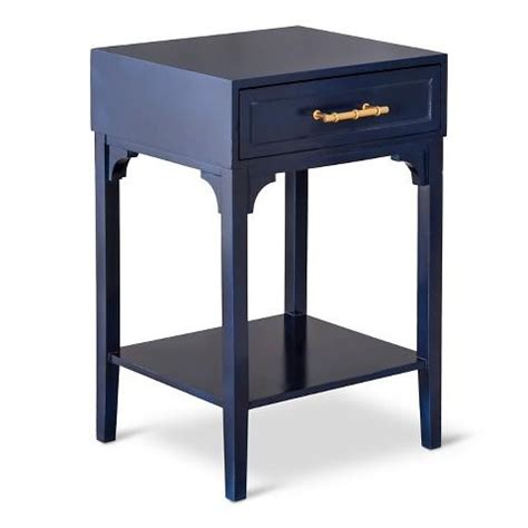 navy blue side table threshold navy blue accent table with bamboo motif handle