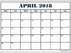 Printable April 2018 Calendar Fillable Printable