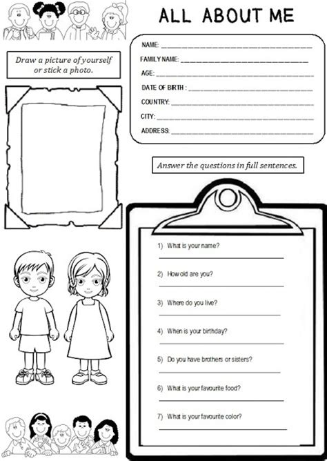 enjoy teaching english all about me worksheet i am going to use this next week for my