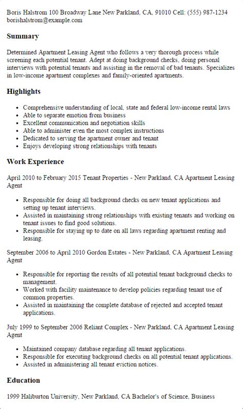 Leasing Description Resume by Leasing Resume Exles Resume Format 2017
