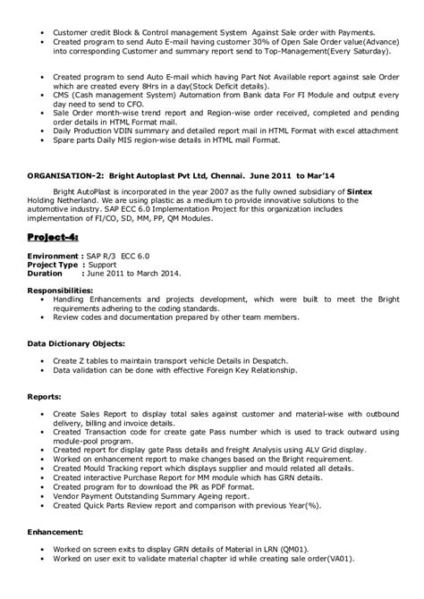 sap abap resume 2 years experience 100 sap abap resume 3