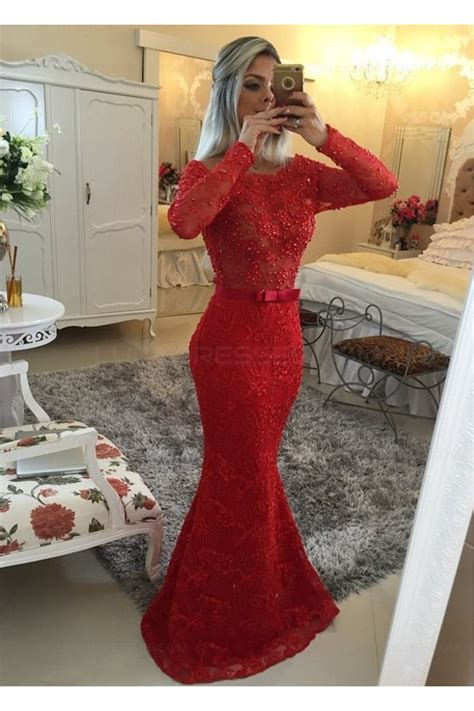 Red Long Sleeves Lace Mermaid Prom Dresses Evening Gowns ...