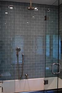 glass tile bathroom Gray Glass Subway Tile in Fog Bank | Modwalls Lush 3x6 Modern Tile Modwalls Tile