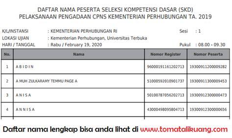 Tim pelaksana pengadaan calon pegawai negeri sipil pemerintah provinsi dki jakarta tahun 2013 nomor 8 tahun 2013 tentang penetapan kelulusan peserta ujian tes kemampuan dasar (tkd) calon pegawai negeri sipil daerah tahun 2013, diumumkan sebagai berikut Daftar Pembagian Sesi Tes SKD CPNS Kemenhub 2019 DKI Jakarta