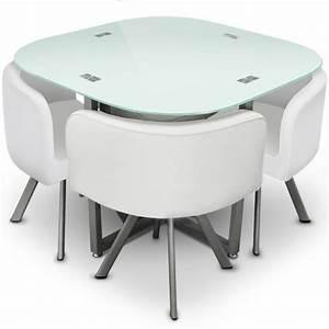 Table Cuisine Petit Espace : table manger blanche 4 chaises encastrables krys ~ Teatrodelosmanantiales.com Idées de Décoration