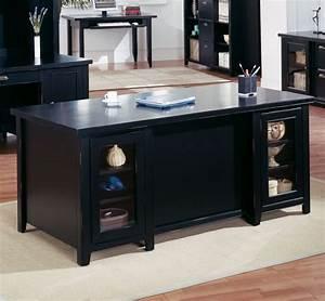Tribeca Loft Black Double Pedestal Executive Desk Black Executive Desk Idea For Your Office