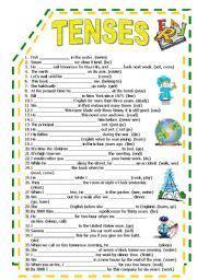 english worksheet  tenses worksheet  tenses