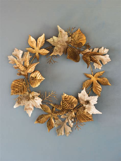 leaf  berry metal wreath  gardeners supply
