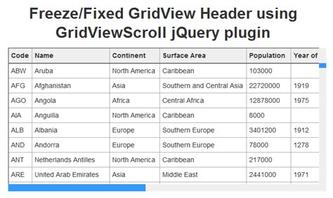 fixed table header and left column jquery plugins asp net freeze gridview header using gridviewscroll